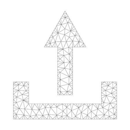 Mesh vector upload icon on a white background. Polygonal carcass dark gray upload image in low poly style with connected triangles, points and lines.