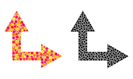 Dot bifurcation arrow right up mosaic icons. Vector bifurcation arrow right up icons in colorful and black versions. Collages of variable round spots. Illusztráció