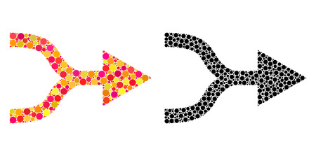 Dot combine arrow right mosaic icons. Vector combine arrow right pictograms in multi-colored and black versions. Collages of random round dots.