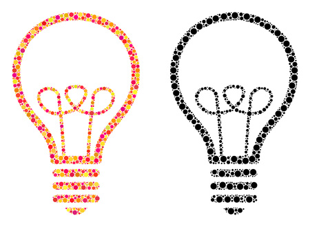 Dotted lamp bulb mosaic icons. Vector lamp bulb icons in bright and black versions. Collages of arbitrary circle spots. Vector compositions of lamp bulb icons done of irregular small spheres.