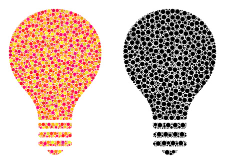 Dotted bulb mosaic icons. Vector bulb icons in multi-colored and black versions. Collages of arbitrary spheric elements. Vector collages of bulb icons made with irregular round elements.
