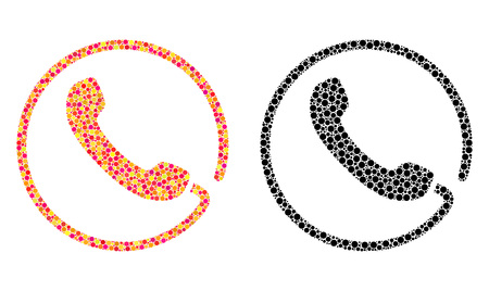 Pixel phone mosaic icons. Vector phone icons in multi-colored and black versions. Collages of casual circle dots. Vector mosaics of phone icons formed of different circle elements.