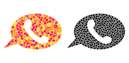 Pixel phone message mosaic icons. Vector phone message icons in bright and black versions. Collages of variable round elements. Vector collages of phone message icons formed of random circle elements. Illusztráció