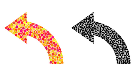 Dotted rotate left mosaic icons. Vector rotate left pictograms in multi-colored and black versions. Collages of randomized circle dots.