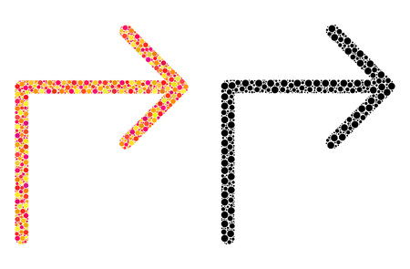 Dot turn right mosaic icons. Vector turn right icons in bright and black versions. Collages of randomized round dots. Vector concepts of turn right images designed of random round dots. Illusztráció