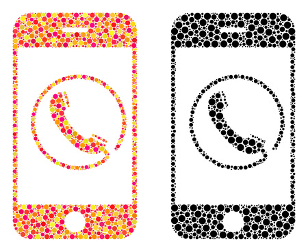 Pixel phone mosaic icons. Vector phone pictograms in multi-colored and black versions. Collages of randomized round elements. Vector collages of phone icons done of randomized spots. Illusztráció