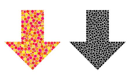 Pixel arrow down mosaic icons. Vector arrow down icons in multi-colored and black versions. Collages of arbitrary circle dots. Vector compositions of arrow down icons constructed of irregular dots.