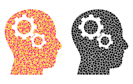 Dotted brain gears mosaic icons. Vector brain gears icons in bright and black versions. Collages of arbitrary round elements. Vector mosaics of brain gears images designed of casual round dots.