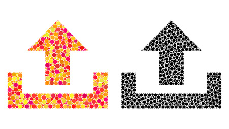Dotted upload mosaic icons. Vector upload icons in colorful and black versions. Collages of different round dots. Vector collages of upload icons constructed with irregular round dots. Illusztráció