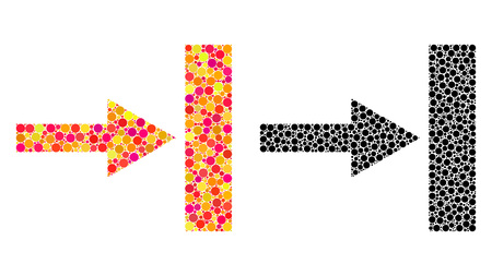 Dotted move right mosaic icons. Vector move right icons in bright and black versions. Collages of random circle dots. Vector collages of move right icons composed with random round pixels. Stock fotó - 126832533