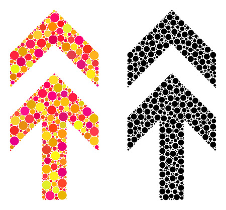 Pixel arrow up mosaic icons. Vector arrow up icons in bright and black versions. Collages of irregular round dots. Vector mosaics of arrow up icons organized with scattered round dots.