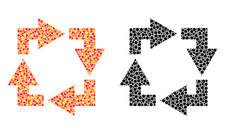 Dotted recycle mosaic icons. Vector recycle icons in multi-colored and black versions. Collages of random round dots. Vector collages of recycle icons formed with variable round elements.