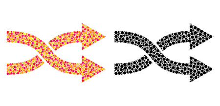 Pixel shuffle arrows right mosaic icons. Vector shuffle arrows right icons in multi-colored and black versions. Collages of different circle spots.