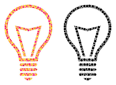 Dotted lamp bulb mosaic icons. Vector lamp bulb icons in bright and black versions. Collages of arbitrary circle elements. Vector collages of lamp bulb icons constructed of random small circles.
