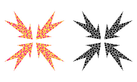 Dotted compression arrows mosaic icons. Vector compression arrows pictograms in colorful and black versions. Collages of variable round elements.