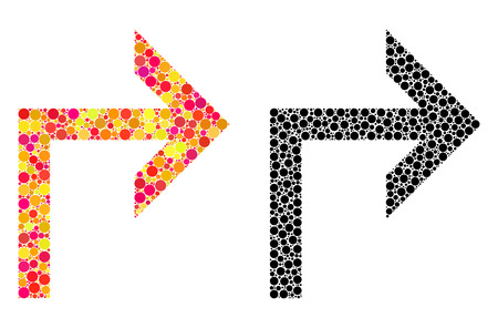 Dot turn right mosaic icons. Vector turn right icons in colorful and black versions. Collages of different spheric dots. Vector concepts of turn right icons constructed of scattered dots. Illusztráció