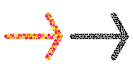 Dot arrow right mosaic icons. Vector arrow right icons in multi-colored and black versions. Collages of variable round elements.