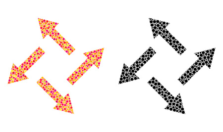 Dot centrifugal arrows mosaic icons. Vector centrifugal arrows icons in bright and black versions. Collages of random round dots.