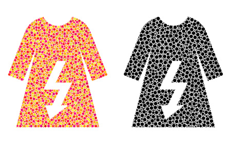 Dotted electric woman dress mosaic icons. Vector electric woman dress icons in colorful and black versions. Collages of randomized spheric elements.