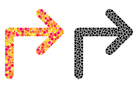 Dot turn right mosaic icons. Vector turn right pictograms in bright and black versions. Collages of arbitrary circle elements. Illusztráció