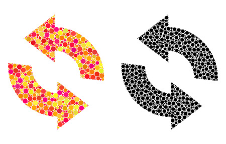 Dotted refresh mosaic icons. Vector refresh icons in bright and black versions. Collages of casual circle dots. Vector collages of refresh icons formed with scattered circle elements.