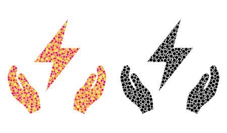 Pixel electricity maintenance hands mosaic icons. Vector electricity maintenance hands icons in colorful and black versions. Collages of randomized round dots. Illusztráció