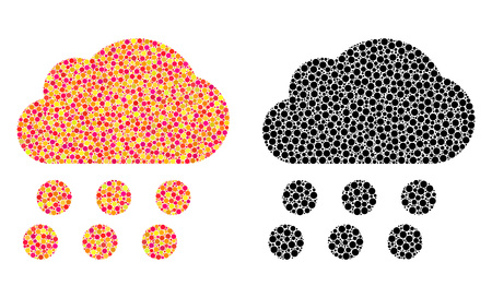 Dot rain cloud mosaic icons. Vector rain cloud icons in bright and black versions. Collages of arbitrary round spots. Vector collages of rain cloud icons made with casual round elements.