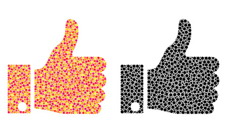 Dot thumb up mosaic icons. Vector thumb up icons in bright and black versions. Collages of randomized circle elements. Vector collages of thumb up icons formed of variable round elements.