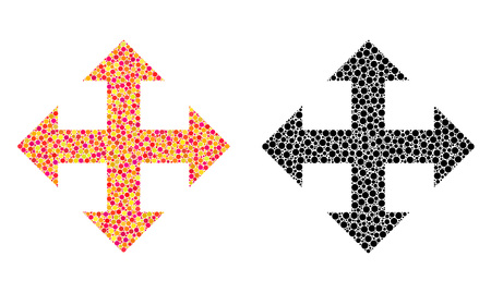 Pixel expand arrows mosaic icons. Vector expand arrows icons in colorful and black versions. Collages of arbitrary round elements. Çizim