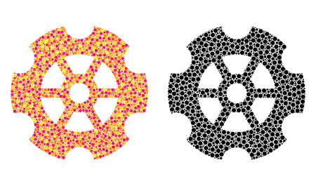 Pixel gear mosaic icons. Vector gear pictograms in multi-colored and black versions. Collages of arbitrary circle elements. Vector concepts of gear icons done with different circle elements. Çizim