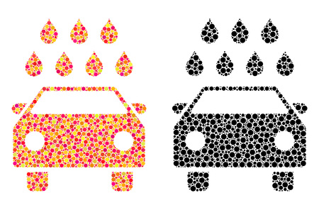 Pixel car shower mosaic icons. Vector car shower icons in colorful and black versions. Collages of arbitrary spheric elements. Vector collages of car shower images formed of irregular circle elements.
