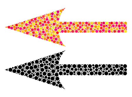 Dot sharp arrow left mosaic icons. Vector sharp arrow left icons in colorful and black versions. Collages of irregular spheric dots. Vectores