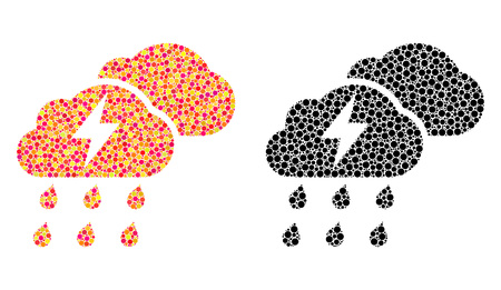 Pixel thunderstorm clouds mosaic icons. Vector thunderstorm clouds icons in bright and black versions. Collages of irregular round elements. Illusztráció