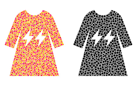 Dotted electric energy girl dress mosaic icons. Vector electric energy girl dress pictograms in colorful and black versions. Collages of variable spheric dots.
