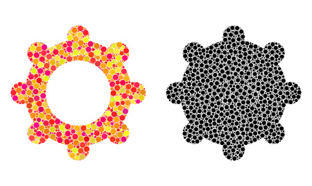 Pixel gear mosaic icons. Vector gear icons in multi-colored and black versions. Collages of randomized round elements. Vector compositions of gear icons organized with scattered round elements.