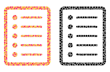 Pixel list page mosaic icons. Vector list page icons in bright and black versions. Collages of irregular round spots. Vector collages of list page icons formed of variable small circles.