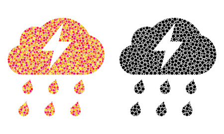 Dotted thunderstorm mosaic icons. Vector thunderstorm icons in bright and black versions. Collages of arbitrary round dots. Vector mosaics of thunderstorm icons constructed of variable round elements.
