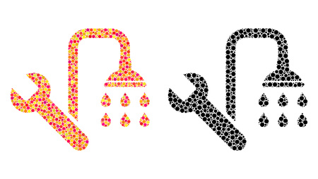 Dotted plumbing mosaic icons. Vector plumbing pictograms in bright and black versions. Collages of randomized round spots. Vector collages of plumbing images designed of arbitrary spots.