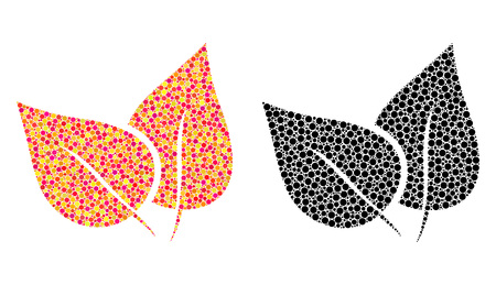 Pixel flora leaves mosaic icons. Vector flora leaves pictograms in bright and black versions. Collages of different round dots. Vector collages of flora leaves images created of variable round dots.