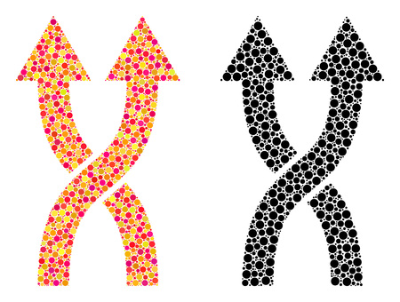 Pixel shuffle arrows up mosaic icons. Vector shuffle arrows up icons in bright and black versions. Collages of arbitrary round spots.