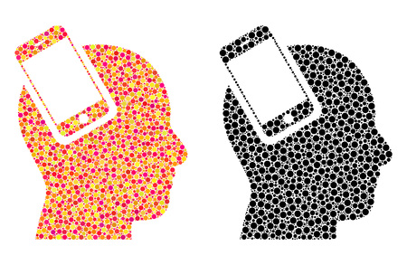 Dotted smartphone head integration mosaic icons. Vector smartphone head integration icons in bright and black versions. Collages of irregular round dots. Illustration