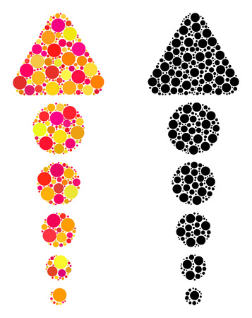 Pixel arrow up mosaic icons. Vector arrow up icons in colorful and black versions. Collages of irregular round dots. Vector collages of arrow up icons designed with scattered round dots.