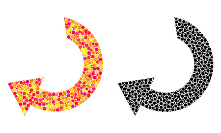 Dotted rotate mosaic icons. Vector rotate pictograms in colorful and black versions. Collages of arbitrary circle elements. Vector collages of rotate icons formed of irregular round elements.