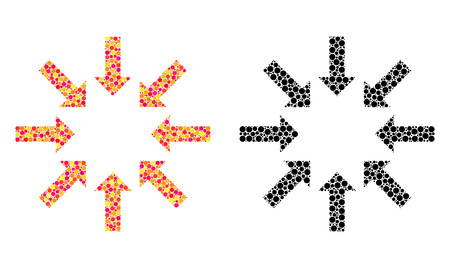 Dotted collapse arrows mosaic icons. Vector collapse arrows icons in multi-colored and black versions. Collages of irregular circle spots.