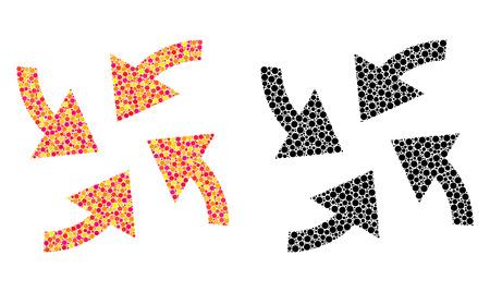 Icônes de mosaïque de flèches de cyclone de pixel. Pictogrammes de flèches de cyclone vectoriel dans des versions colorées et noires. Collages d'éléments ronds occasionnels.