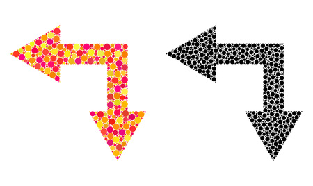 Dotted bifurcation arrow left down mosaic icons. Vector bifurcation arrow left down icons in colorful and black versions. Collages of irregular round spots.