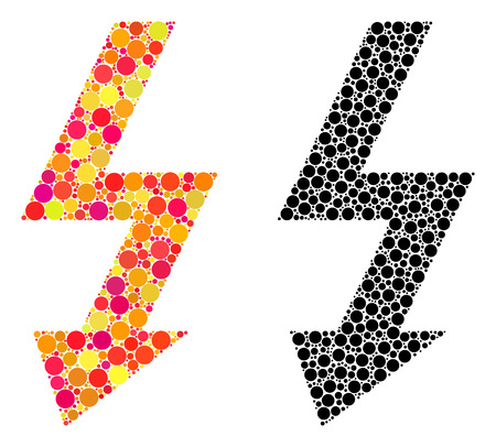 Dot high voltage mosaic icons. Vector high voltage icons in multi-colored and black versions. Collages of different round spots. Illusztráció