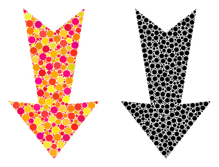 Dotted arrow down mosaic icons. Vector arrow down pictograms in bright and black versions. Collages of variable spheric spots. Vector collages of arrow down icons created of variable round dots. Illusztráció