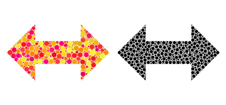 Dotted horizontal exchange arrows mosaic icons. Vector horizontal exchange arrows icons in multi-colored and black versions. Collages of arbitrary spheric elements.