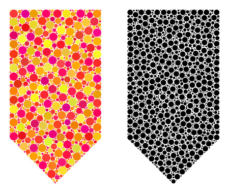 Dot direction down mosaic icons. Vector direction down icons in multi-colored and black versions. Collages of variable spheric spots.